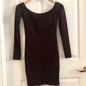 NWT Body-con Long Sleeve maroon dress XS